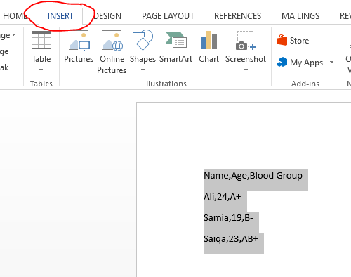 convert text to table in word