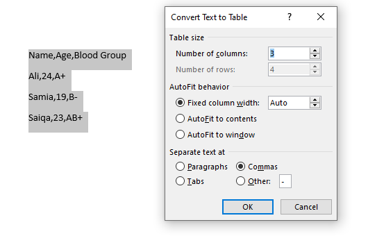 how to convert text to table in word 2013