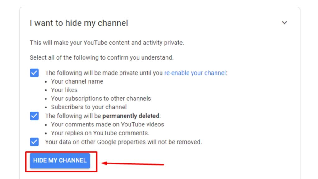 How To hide youtube channel