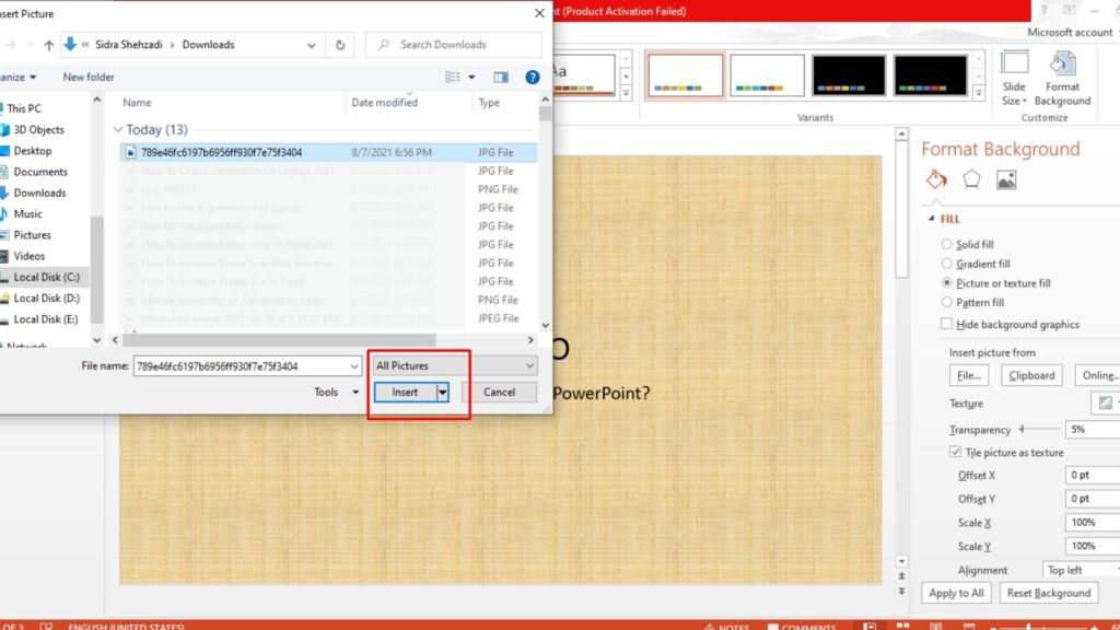 how to add background image in powerpoint