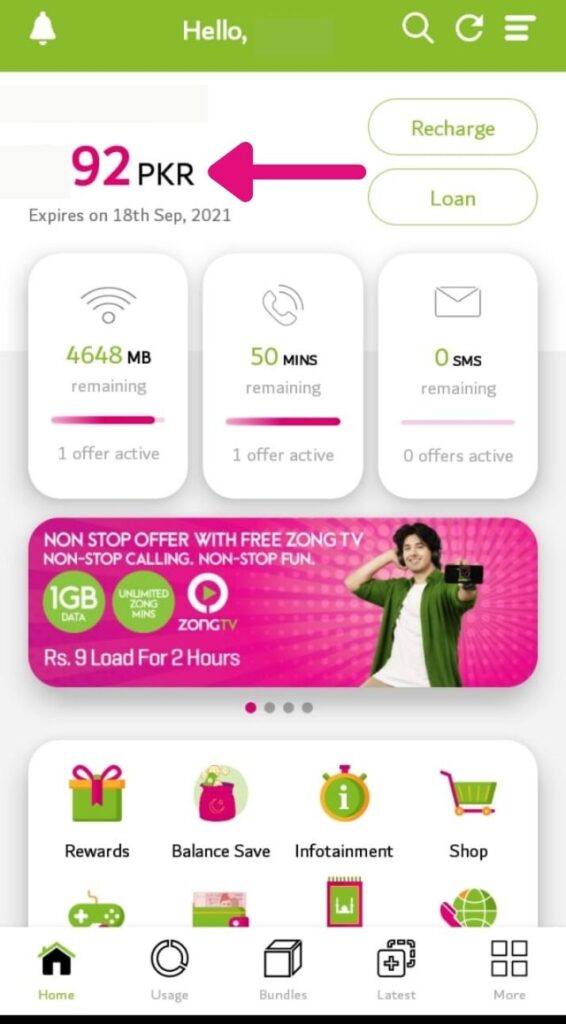 how to check zong balance from my zong app