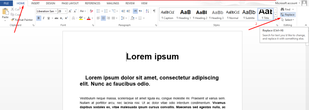 how to replace words in ms word