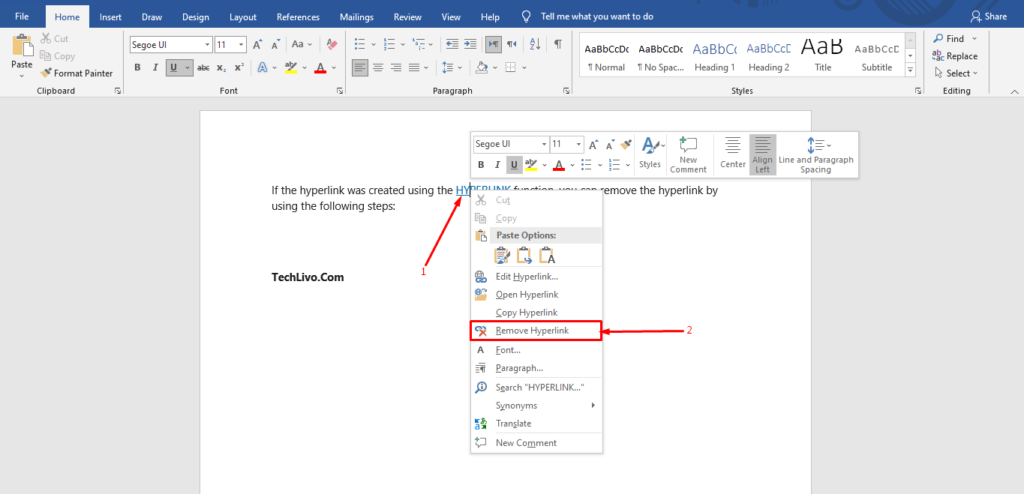 How to Remove Hyperlink in MS Word?