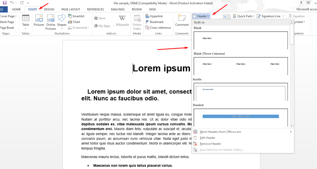 add header and footer in word 2016