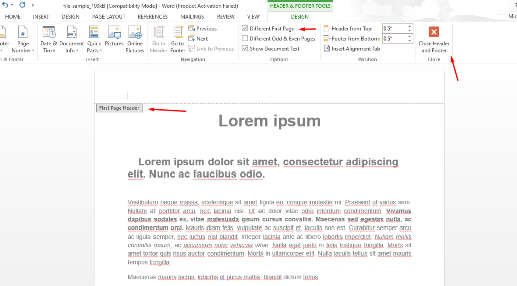 How To Remove Header And Footer In Word 2016