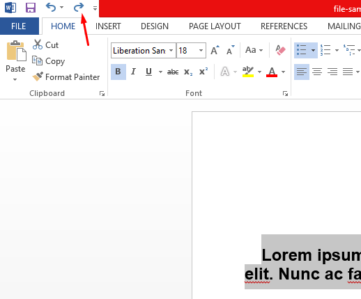 how to redo in word