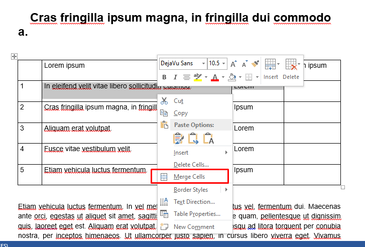 how to merge cells in word