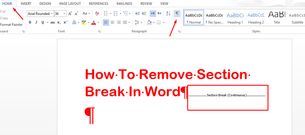 how to remove section break in word
