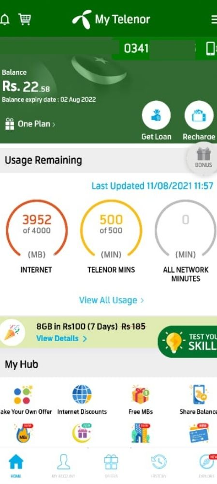 how to check telenor balance from my telenor app